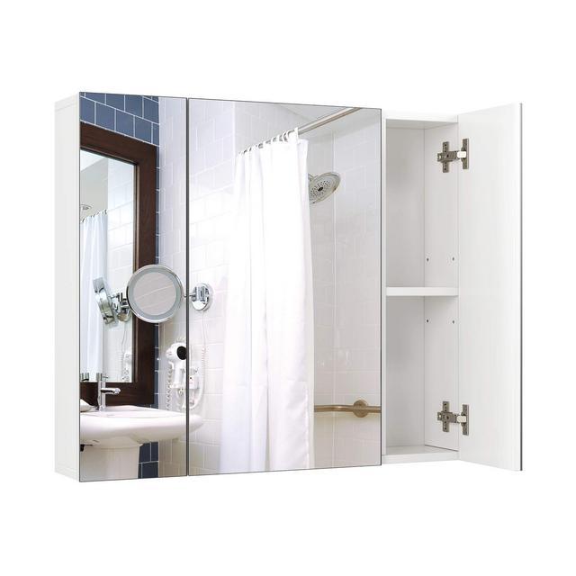 Homfa Armadietto a Specchio da Bagno con Ripiani Interiori 70 × 15 × 603 cm Bianco