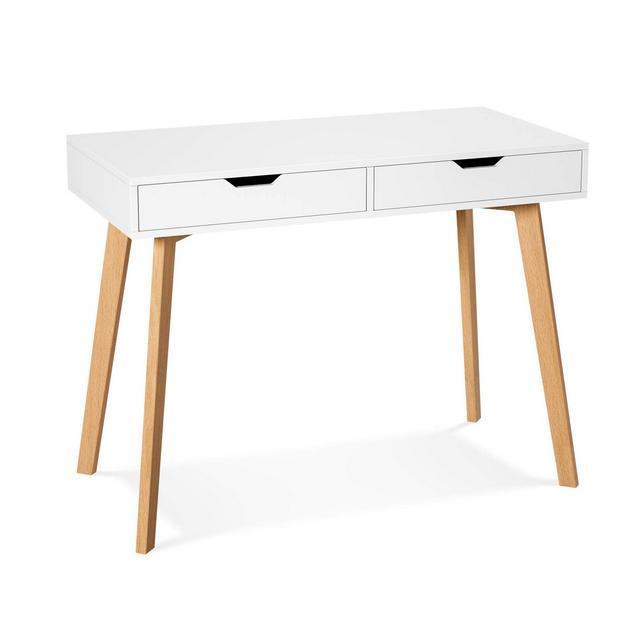 Homfa Scrivania Tavolo Ufficio Lavoro Scaffale Porta Computer con 2 cassetti Tavolino per Toeletta Pranzo Legno Moderno Bianco