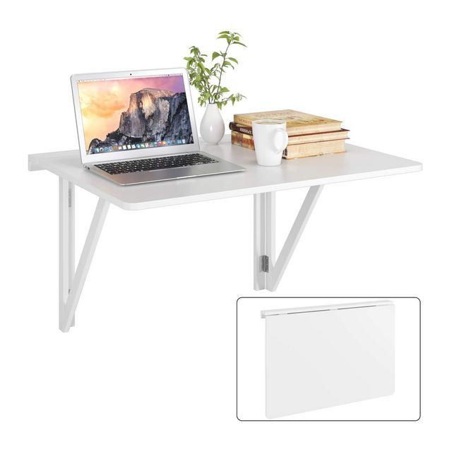 Homfa Tavolo da Muro Bianco Tavolino Pieghevole Multifunzione Salvaspazio
