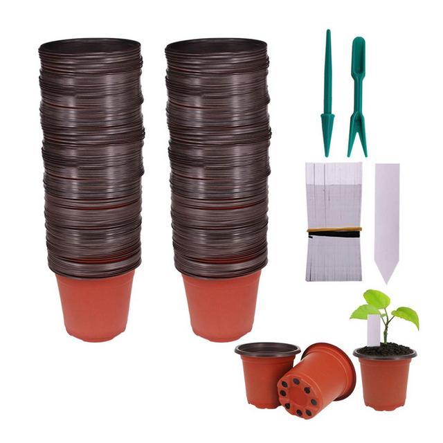 Huvai 100pz 102cm plastica vasi di piante piantine nursery con 100pezzi di plastica impermeabile vegetali tag e 2PCSset trapianto scavare mini Tools