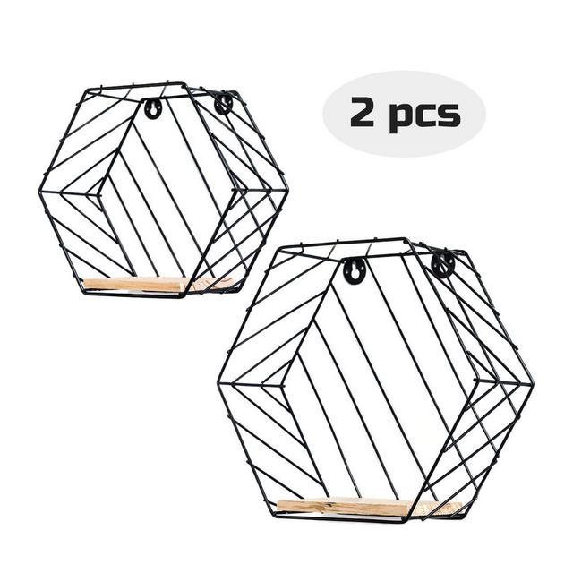 Infinite Node Mensole da muro Metallico Arte Mensole Esagole in Legno Massello per la Pianta da Appendere a Parete Disegno Geometrico per la Decorazione Casa e Ufficio Set di 2 Nero Righe