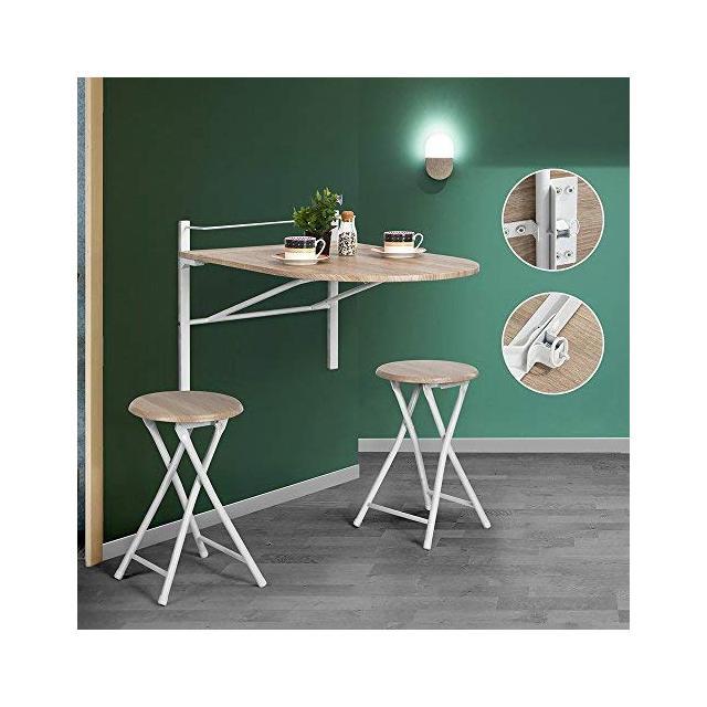Innovareds tavolo pieghevole oblungo da parete realizzato in legno ideale per colazione e ce con sgabello pieghevole incluso color faggio