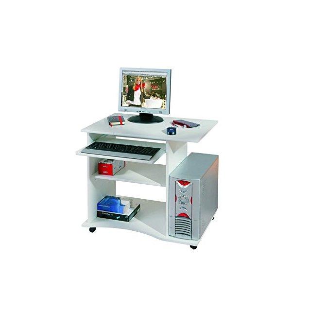 Inter Link Scrivania Porta PC con Ruote Truciolare 80 x 50 x 75 cm Bianco