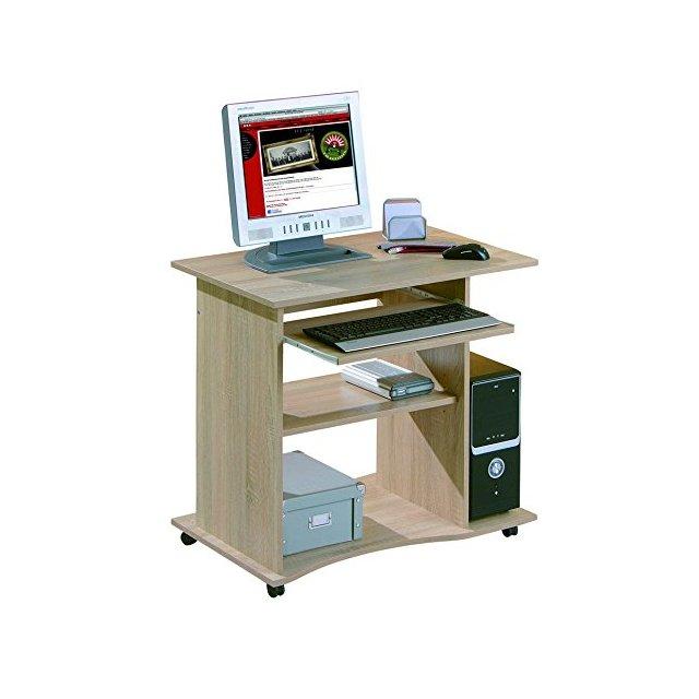 Inter Link Scrivania Porta PC con Ruote Truciolare 80 x 50 x 75 cm Rovere