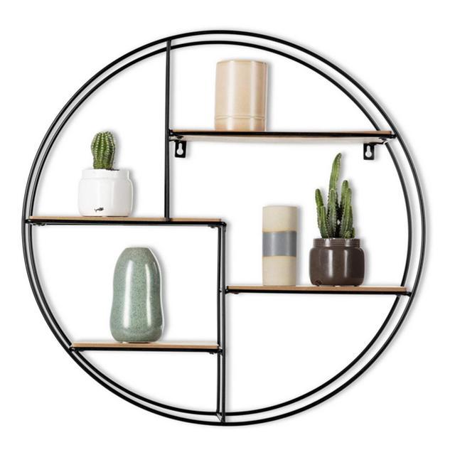 Intimo Living Mensola da Muro Rotonda con 4 Ripiani Legno e Metallo