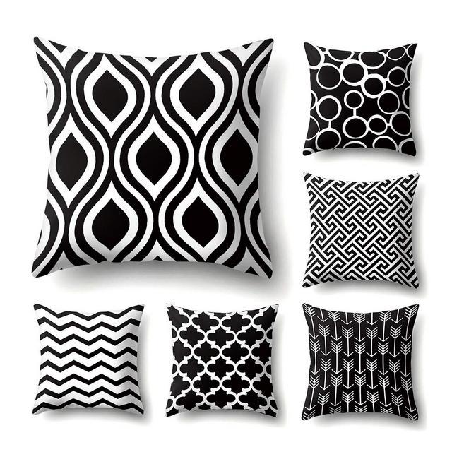 JOTOM Fodera per Cuscino Tiro Divano Fodere per Cuscini Federa Cuscino Decorativo 45X45cmSet di 6 Pattern in bianco e nero