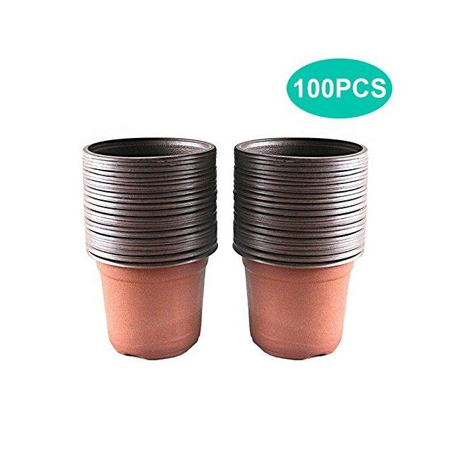 KINGLAKE 100 Pezzi 10 cm Piante in plastica Morbida pentole piantine vasi Semi vasi vasi vivaio fioriere contenitori di Piante