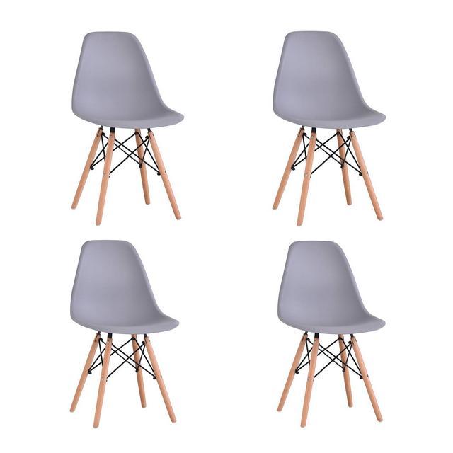 KunstDesign Set di 4 Sedie da Pranzo con Seduta in Polipropilene e Gambe in Legno Massello di Faggio Design Ergonomico Grigio