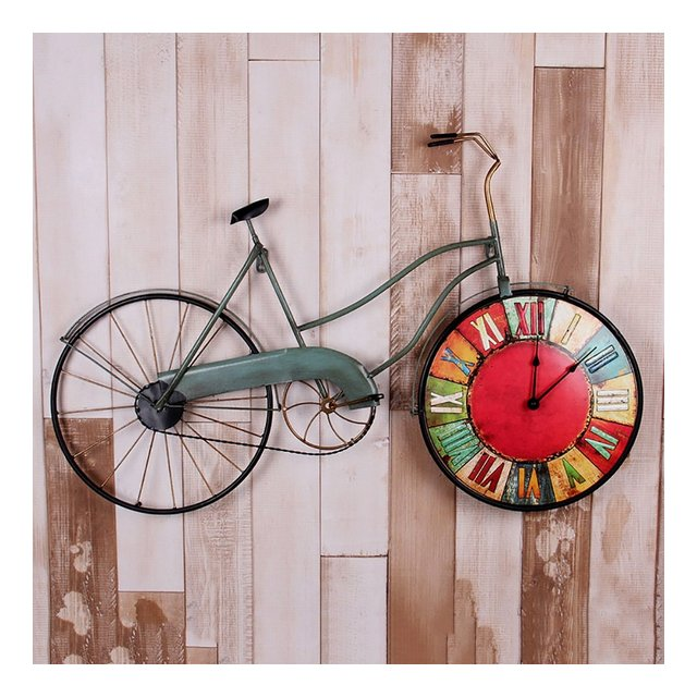LOFT Vintage Bicycle Decorative Frame Clocks Salotto Bar Internet Cafe Ferro Industrial Wind Wall Cornice decorativa L81 * H51cm ciondolo decorativo Colore A