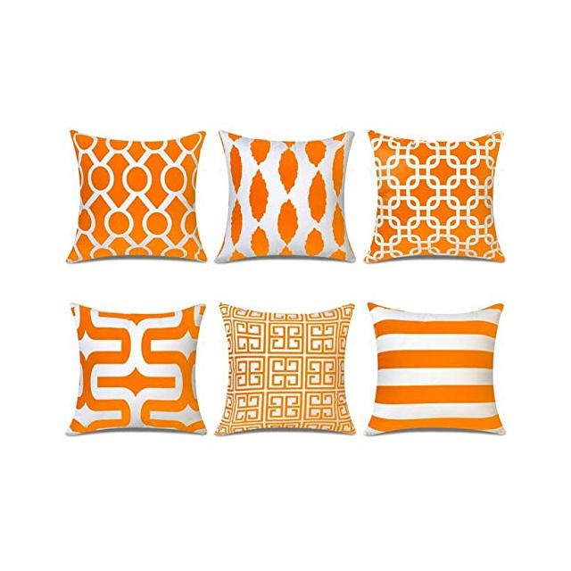 LYMC Topfinel Yellow Geometric Nordic Cushion Cover Microfiber Throw Pillow Cover Cushion Case Sofa Bed Decorative Pillow Suit 400mm*400mm Orange