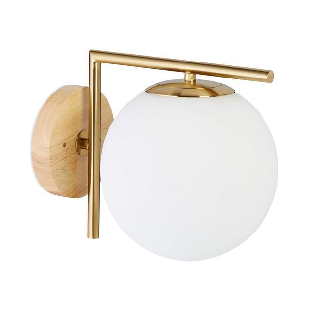 Lampada a Parete Applique GLOBI Metallo e Vetro Paralume a Sfera E27 40 W Bianco 23x20x28 cm