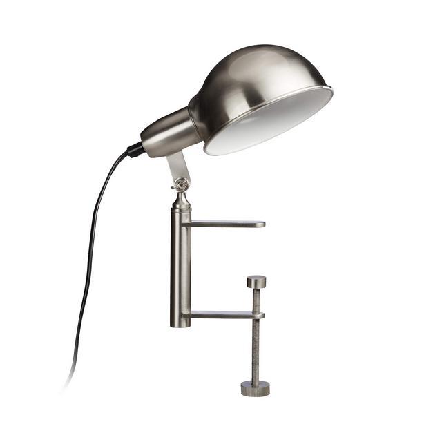 Lampada con Pinza Clip Grigia da Tavolo Morsetto Avvitabile E27 Nichel Opaco HLP 27 x 15 x 225 cm Argento