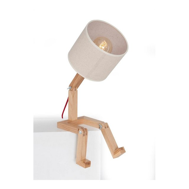 Lampada da Tavolo Legno Base Rovere legno base;pvc paralume