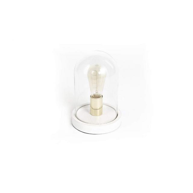 Lampada da tavolo in cupola di vetro Lampadi a incandescenza con base bianca in legno Decorazione illumizione per studio camera da letto soggiorno Alt 25 cm