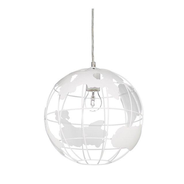 Lampada soffitto sferica lampadario sospeso a globo altezza regolabile in metallo  30 cm bianco