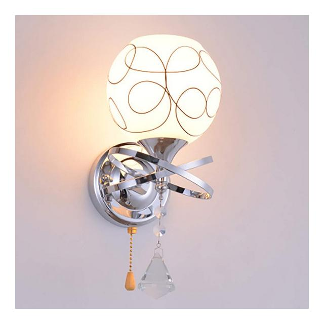 Lampade da Parete Applique in Cristallo con Applique a Muro Paralume in Vetro Illumizioni per pareti Colore Silver