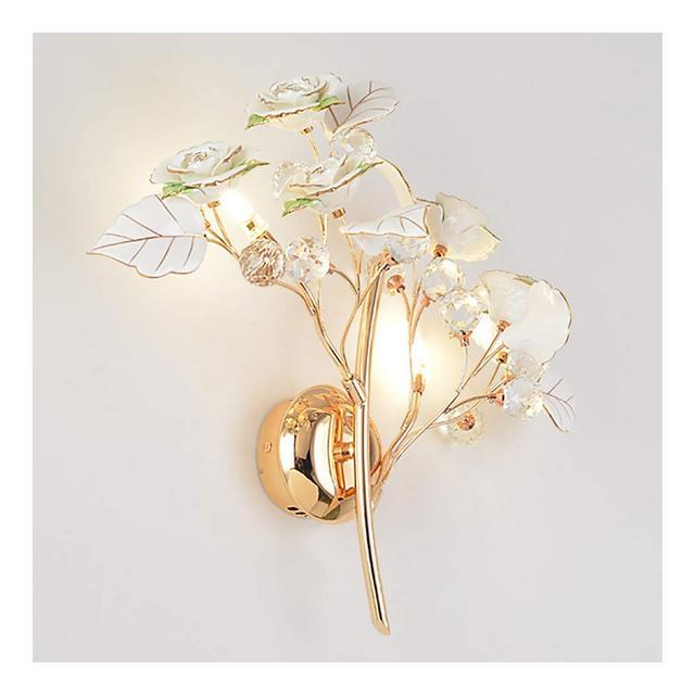 Lampade da Parete Lampada da Parete in Ceramica di Cristallo Francese Applique da Parete Appeso al Muro Illumizioni per pareti Colore Bianca