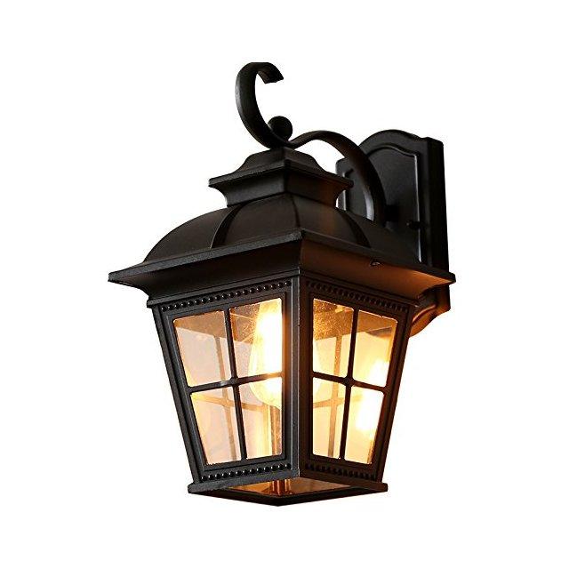 Lampade da parete Applique da parete per corridoio esterno impermeabile da giardino con plafoniera da giardino Apparecchi di illumizione a parete Color Black
