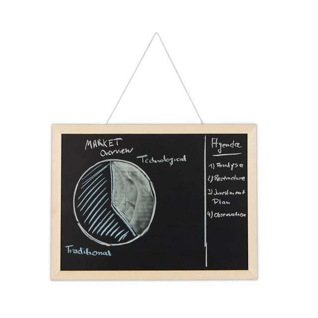 Lavag per Gesso con Cornice in Legno Cancellabile Bacheca da Ufficio da Parete 30 x 40 cm Nera Pino Nero 30 x 40 x 2 cm