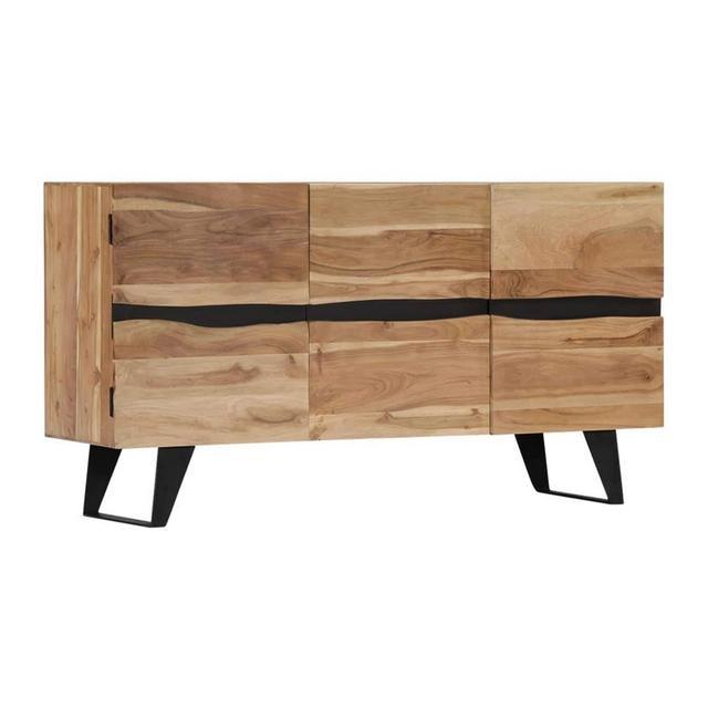 Legno Massello di Acacia Credenza 6 Scomparti Chiusi Resistente Stile Lineare Rustico Affidabile Solida Madia Buffet Mobile da cucina Salotto