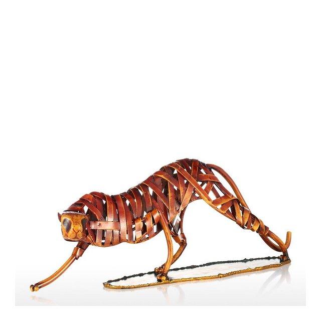 Leopardo di Tessitura Scultura in Ferro per la Decorazione Domestica Ormento Regalo