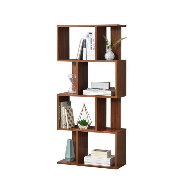 Libreria 130 x 60 x 24 cm Scaffale per archiviare CD o DVD 8 mensole Effetto noce