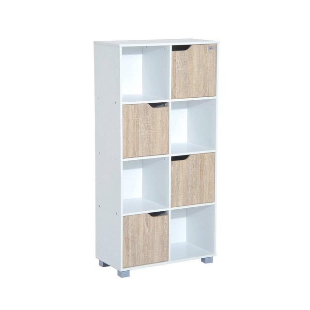 Libreria Design a 8 Scompartimenti Scaffale per Libri in Legno Bianco Rovere 60 x 30 x 122cm