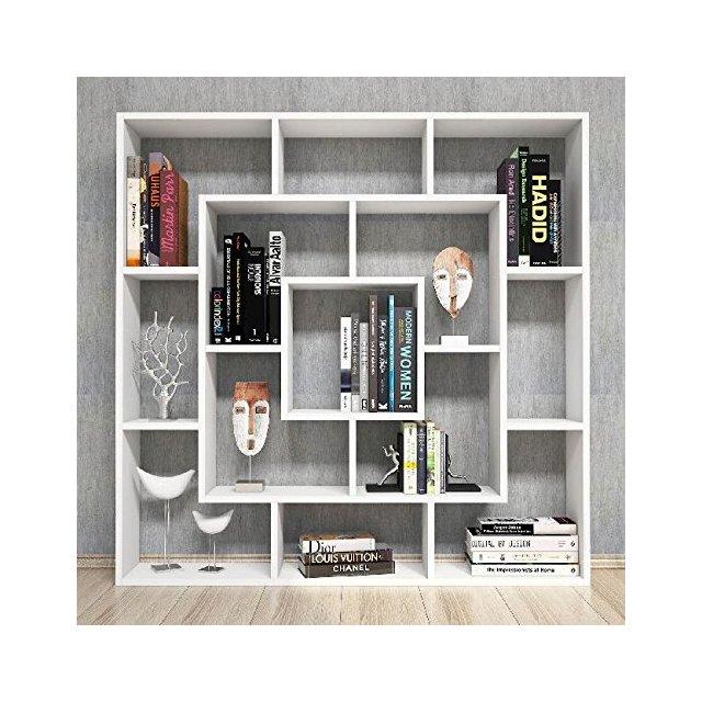 Libreria Frame Scaffale Mobile con Ripiani da Salotto Ufficio Bianco in Legno 125 x 20 x 125 cm