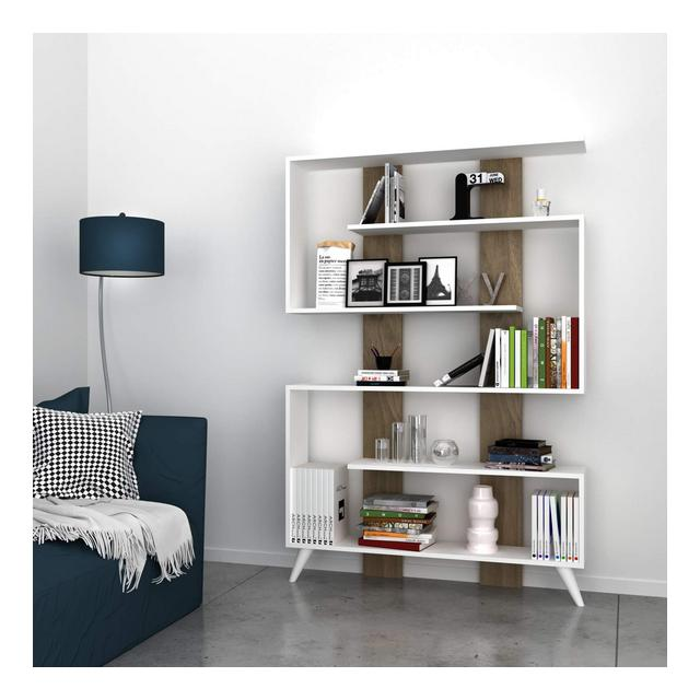Libreria Jane Legno WhiteWalnut 120 x 22 x 164 cm
