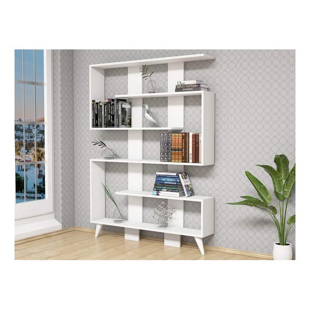 Libreria Jane Scaffale Mobile con Ripiani da Salotto Ufficio Bianco in Legno 120 x 22 x 164 cm