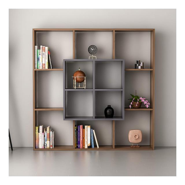 Libreria Leef Scaffale Mobile da Parete con Ripiani da Salotto Ufficio Studio Noce Antracite in Legno 136 x 22 x 136 cm