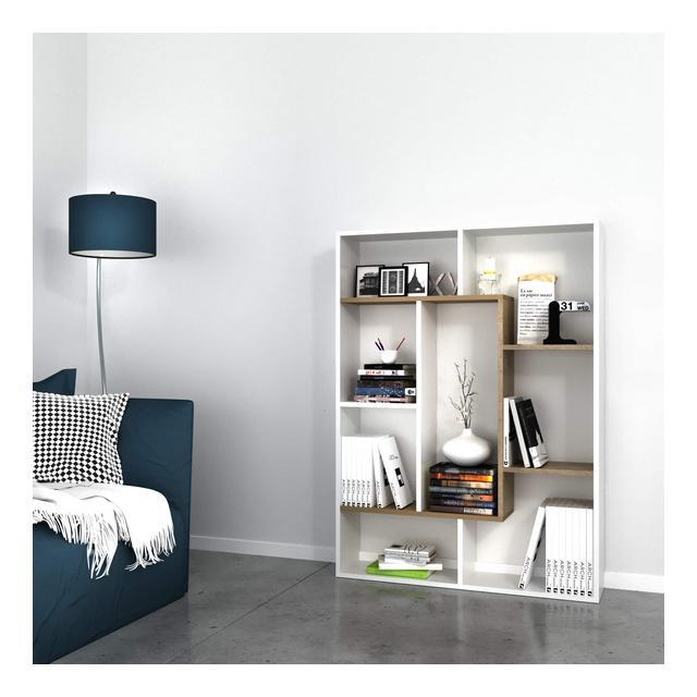 Libreria Liam Scaffale Mobile con Ripiani da Salotto Ufficio Noce Bianco in Legno 100 x 22 x 136 cm