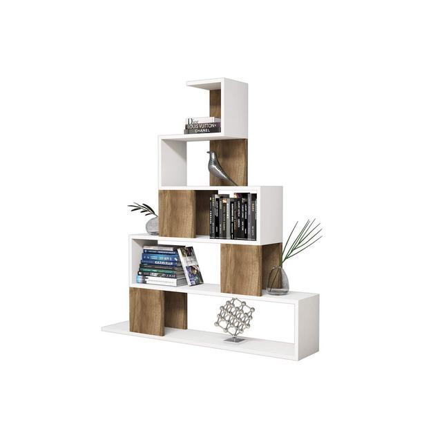 Libreria Pyramid Colore Bianco e Noce Lamito Melaminico e PVCper Soggiorno Camera UfficioScaffale Mensola Libr 18 mm di qualità E1 Fasce Laterali 040 mm Taglia Unica