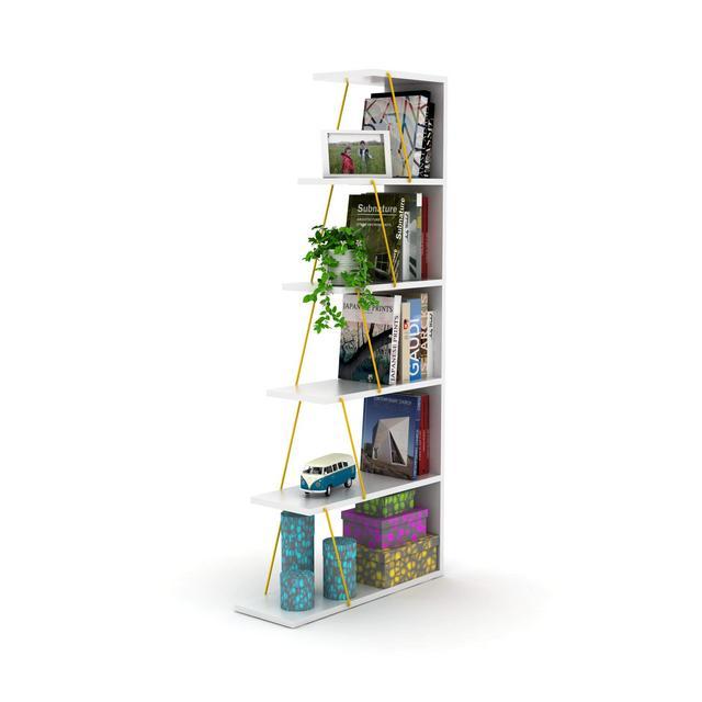Libreria Tars Colore Bianco e Giallo in Legno e Metalloper Soggiorno Camera UfficioScaffale Mensola Libri Taglia Unica
