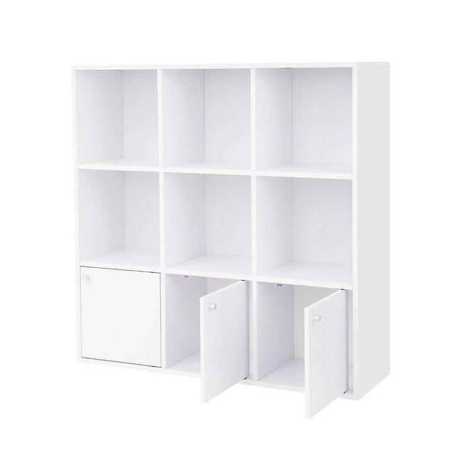 Libreria in Legno Scaffale per Casa e Ufficio Mobile Guardaroba Autoportante Portaoggetti con 3 Armadietti Inferiori Bianco