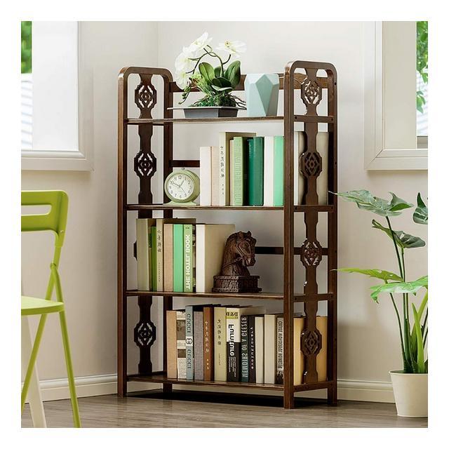Libreria pratica a 4 strati Libreria retrò mobili da terra Espositore multiuso a più livelli in legno massello multifunziole 28x11x48 pollici
