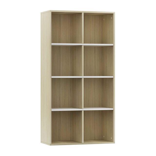 LibreriaCredenza Scaffali Versatile Decorativa Mobiletto Arredo Mensole a Giorno Espositore Bianco e Rovere Sonoma 66x30x130 cm in Truciolato