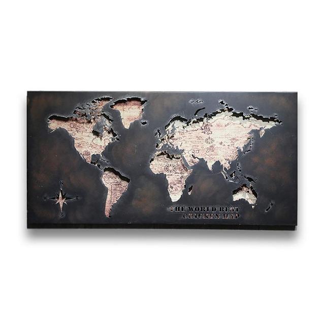 Loft Industriale del Vento World Map Ferro Battuto La Decorazione della Parete Bar Ristorante Living Room Background Decorazione 120 × 35 × 60cm Ciondolo Decorativo