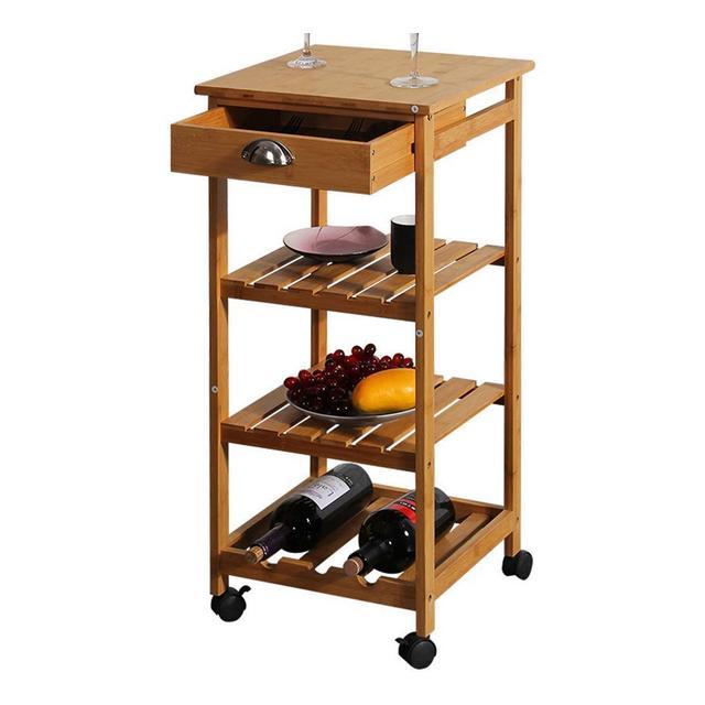 Lsmaa Tavolino portaoggetti in bambù e Legno Moderno Tavolo da cucina con 4 Ripiani con Rotella Universale nella Parte Inferiore Facile da spostare