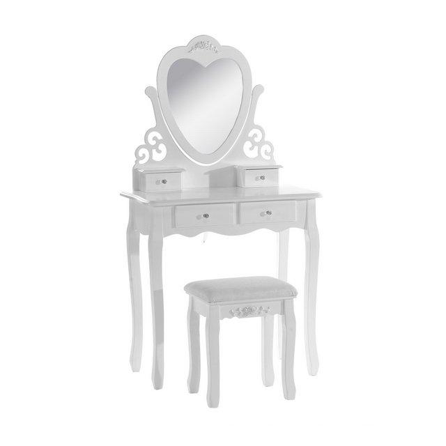 MB6025cm Tavolo da Trucco Cosmetici Specchiera con Sgabello Ben Imbottito Toeletta con 4 Cassetti Specchio Inclibile a Cuore Bianco