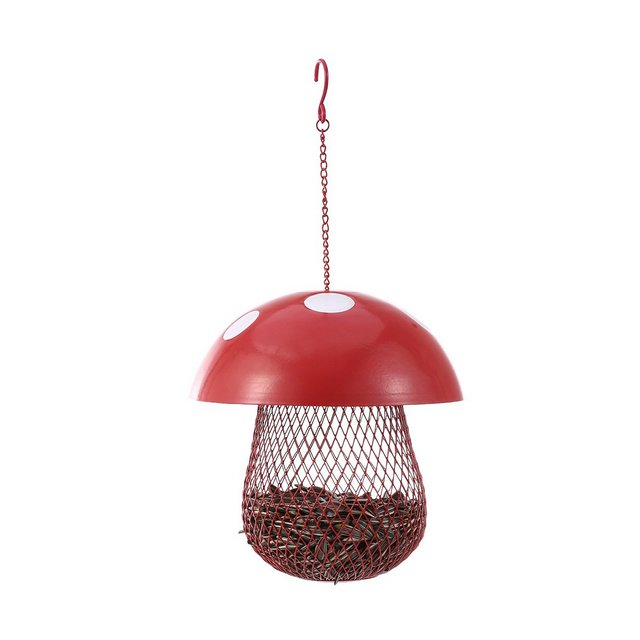 Mangiatoia per uccelli Alimentatore di semi di uccello alimentatore a forma di fungo Alimentatore di semi di uccelli selvatici Giardino decorativo in metallo per esterni