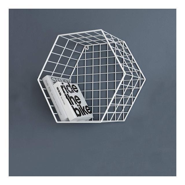 Mensola a Muro Camera da Letto Soggiorno TV Decorazione Parete Scaffale Esagole da Parete 1114 Color White Size 38 * 22 * 335cm