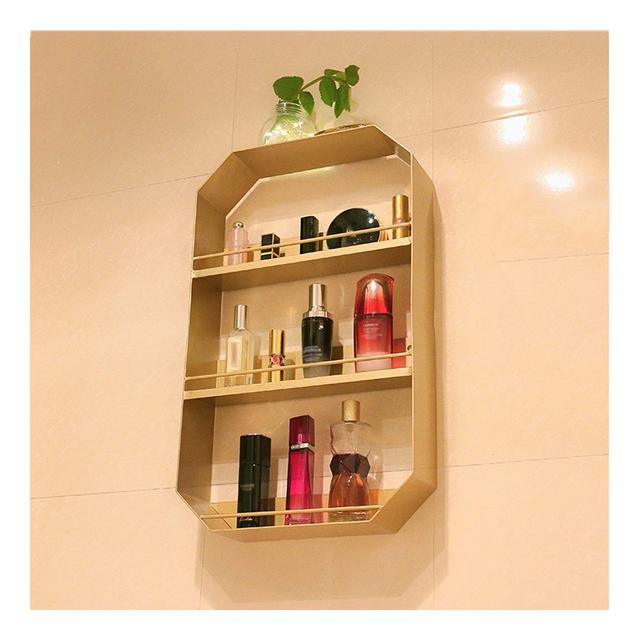 Mensola a Muro in Metallo Nordic Simple Floating Shelves Bathroom Living Room Storage Rack Gold 1107 Size 40 * 8 * 60cm