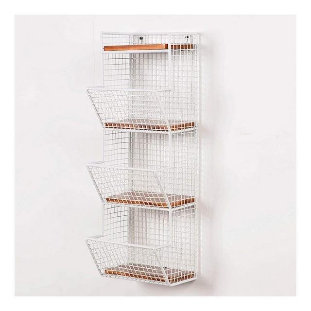 Mensola a Muro in Metallo Rack Mensola a Muro in Legno massello Vintage 1116 Color White Size 20 * 17 * 58cm