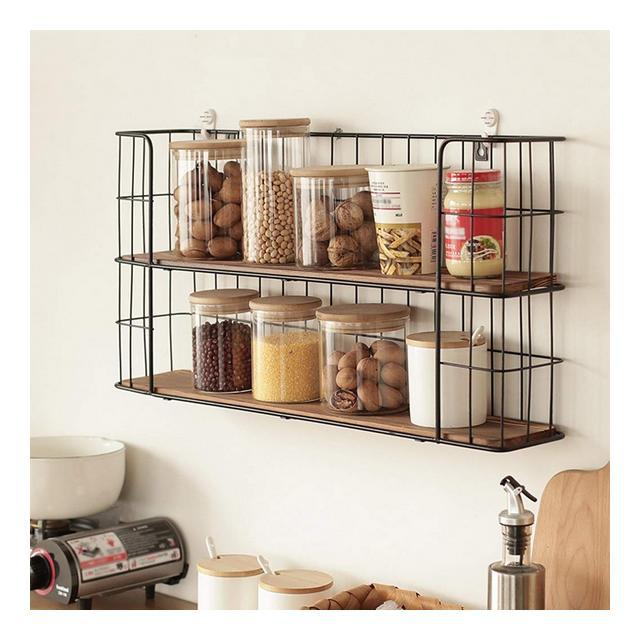 Mensola a Muro in Metallo cucina Sala da Pranzo Camera da Letto Doppio Pavimento Rack di stoccaggio a Muro 60 * 12 * 30 cm 1108