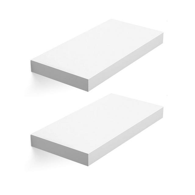 Mensola da Muro Mensola da Parete Set da 2 40 x 20 x38 cm Mensole Portaoggetti in MDF Bianco