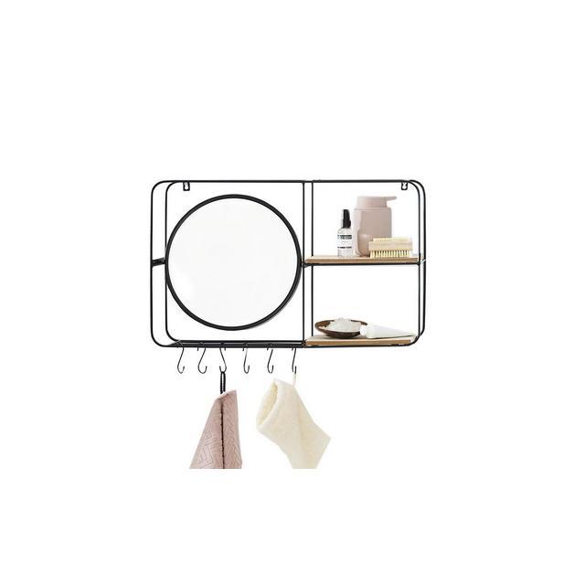 Mensola da Muro con Specchio e Ganci Specchi da Parete Design Vintage Legno e Metallo per Salotto Bagno corridoio Ingresso