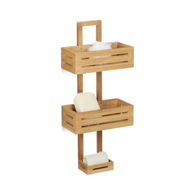 Mensola per Doccia in bambù HxLxP 65 x 28 x 155 cm PortaOggetti PortaSapone Bagno 3 Ripiani