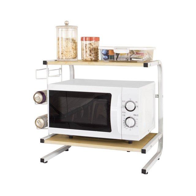 Mensola per forno a microonde Carrello da cucinaMensola angolare in metallo e legnobeigeFRG092NIT