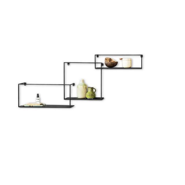 Mensole da Muro Design in Set da 3 mensole da Parete sospese Stile Industriale mensole a Incastro in Metallo Nero capacità Fino a 3 Kili